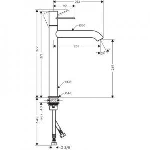 Rysunek techniczny btaerii Axor Uno 250 38034930-image_Axor_38034930_2