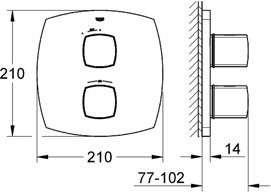 Wymiary techniczne baterii termostatycznej Grohe Grandera 19934000-image_Grohe_19934000_3