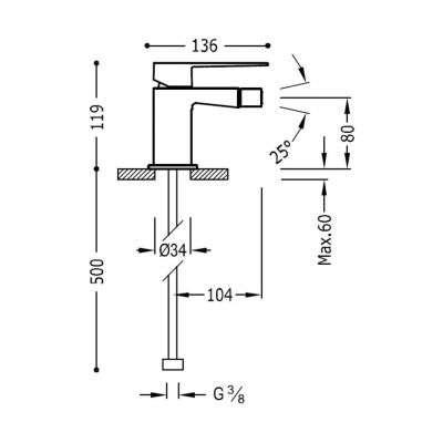 Wymiary techniczne baterii bidetowej Slim Exclusive 202.120.01.nm.d-image_Tres baterie do kuchni i łazienki_202.120.01.NM.D_3