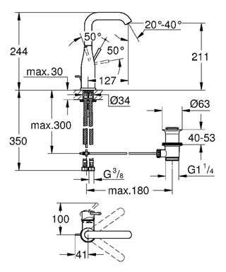 Wymiary techniczne wysokiej bateri umywalkowej Grohe Essence New 32628001-image_Grohe_32628001_6