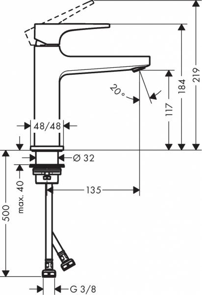 Wymiary techniczne kranu umywalkowego Metropol 32507990.-image_Hansgrohe__1