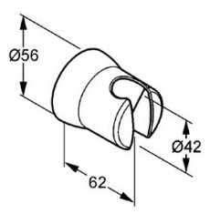 Rysunek techniczny uchwytu prysznicowego ściennego Kludi Balance 520500500-image_Kludi_5205005-00_3