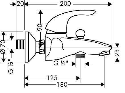 Wymiary techniczne baterii wannowej Hansgrohe Focus 3174000-image_Hansgrohe_31740003