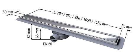 Wymiary techniczne odpływów liniowego Kessel Linearis Compact -image_Kessel_45600.63_5