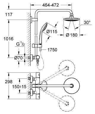 Wymiary techniczne zestawu prysznicowego Grohe Euphoria Showerpipe 27296 001-image_Grohe_27296001_3