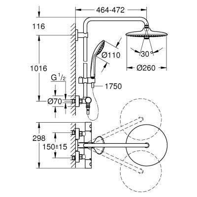 Rysunek techniczny Euphorii 260 27615001-image_Grohe_27615001_2