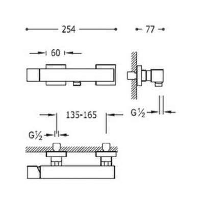 Wymiary techniczne baterii prysznicowej Tres Cuadro Black Matt - czarny mat-image_Tres baterie do kuchni i łazienki_007.167.03.NM_2