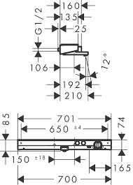 Wymiary techniczne baterii termostatycznej wannowej Hansgrohe Showertablet Select 700 13183400-image_Hansgrohe_13183400_3